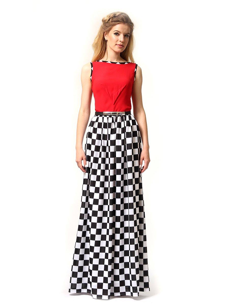 Платье красное в черно-белую клетку | 4341594 | фото 4
