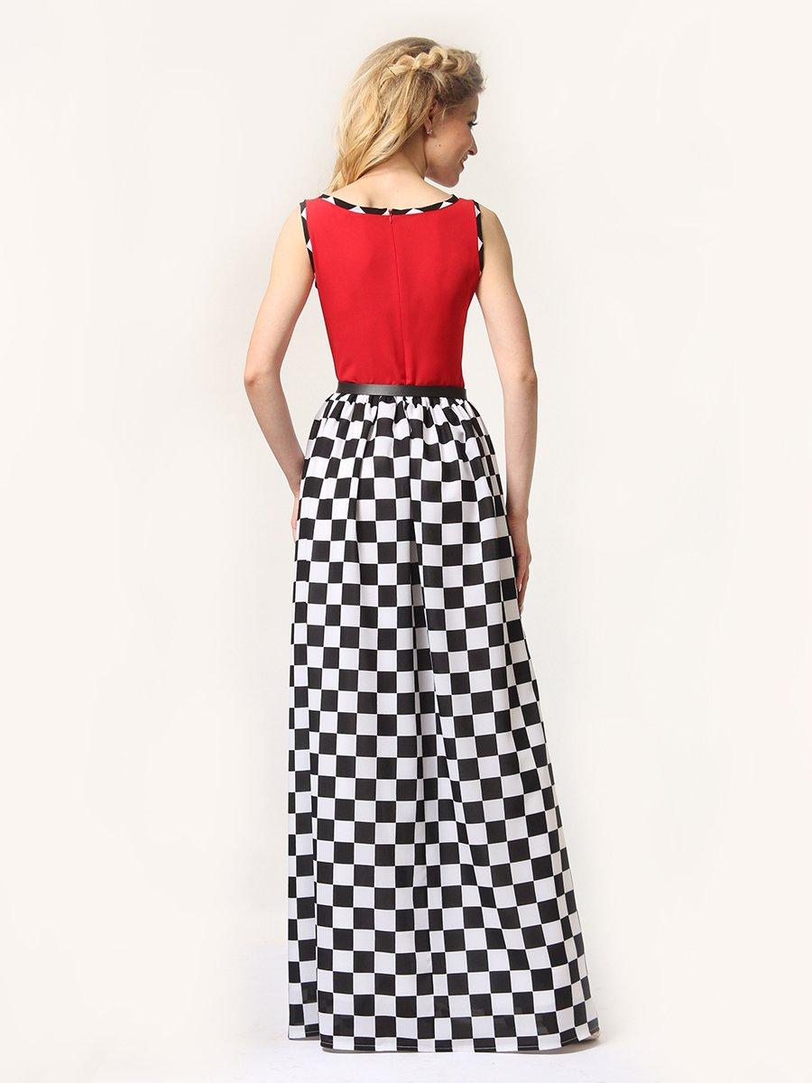 Платье красное в черно-белую клетку | 4341594 | фото 5
