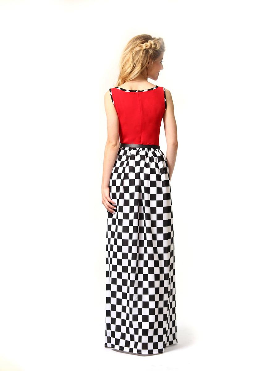 Платье красное в черно-белую клетку | 4341594 | фото 6