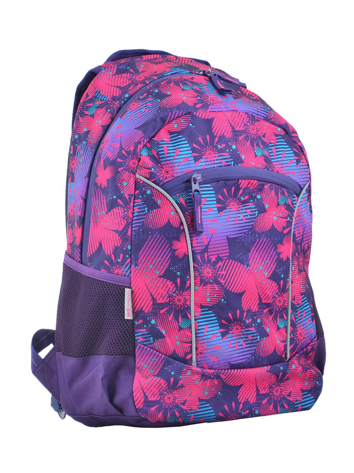 Рюкзак бузковий в принт | 4341704