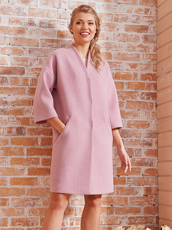 Пальто розовое | 4068313 | фото 4