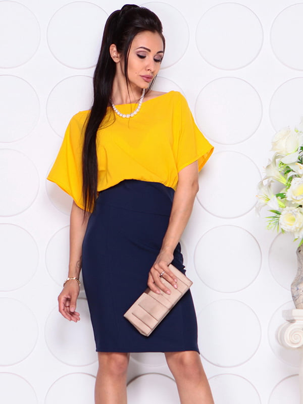 Платье желто-синее | 4354005 | фото 4