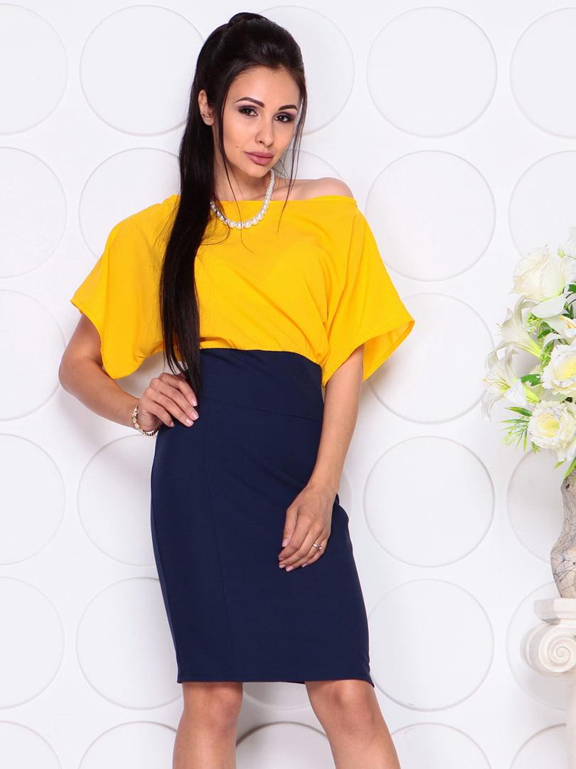 Платье желто-синее | 4354005 | фото 5