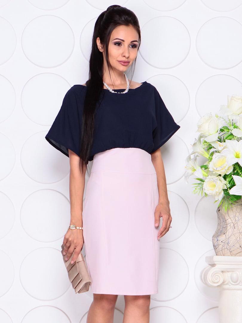 Платье сине-бежевое | 4354010 | фото 3