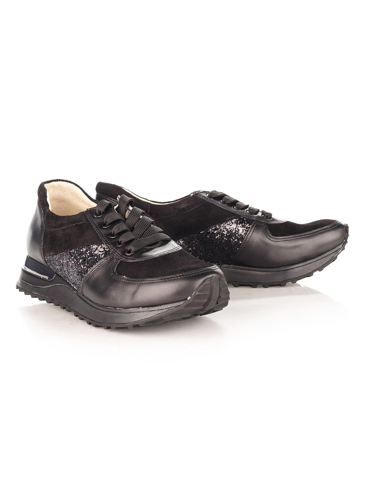 Кросівки з натуральної шкіри чорні з чорною вставкою | 4189851