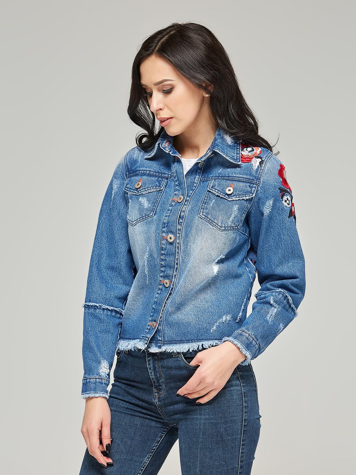 Куртка синя з вишивкою | 4367649