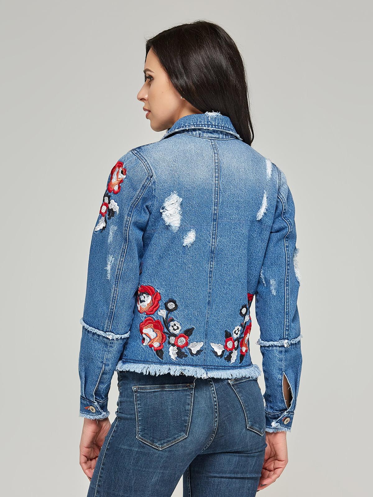 Куртка синя з вишивкою | 4367649 | фото 2