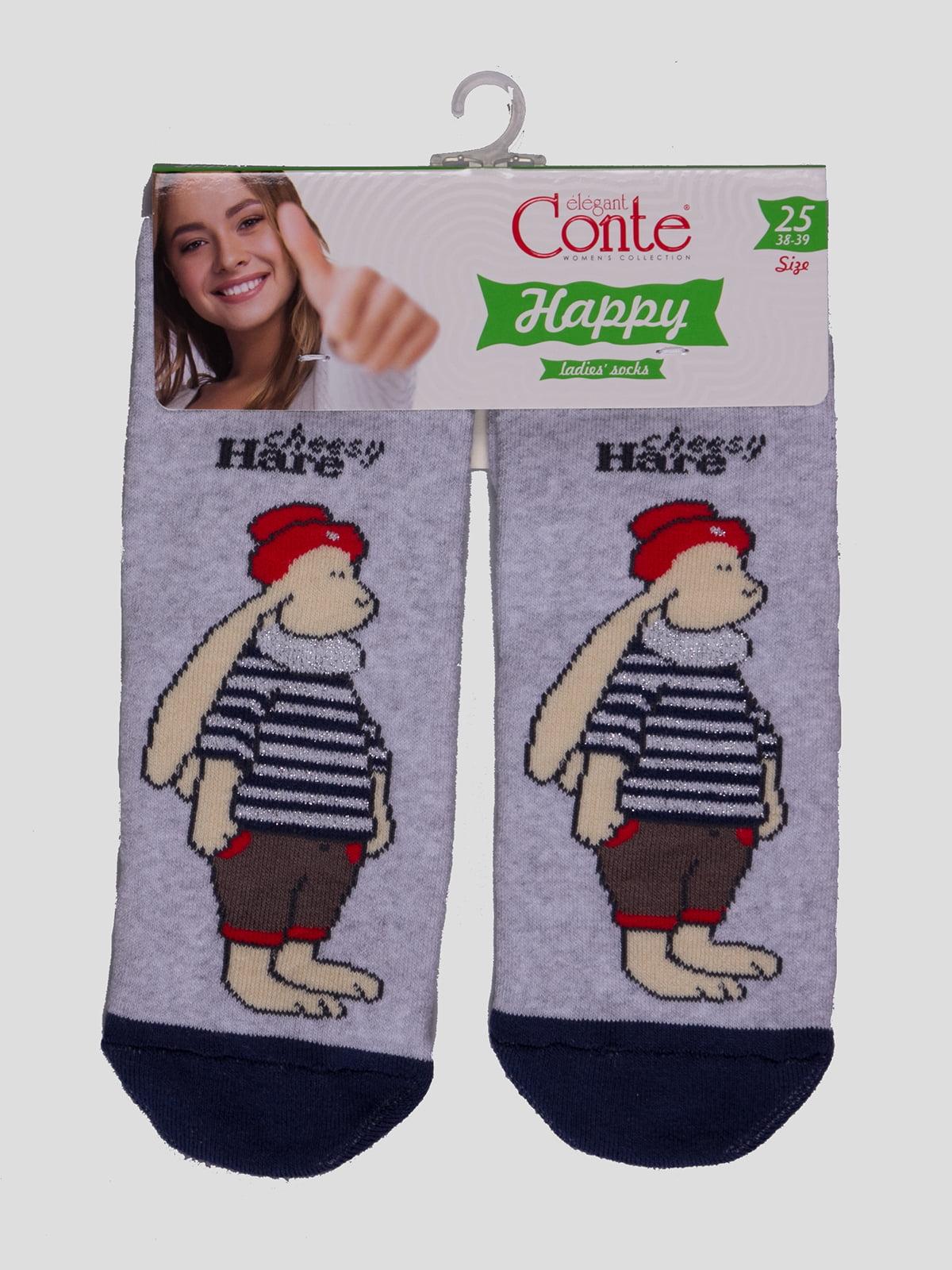 Шкарпетки світло-сірі з малюнком   4366527