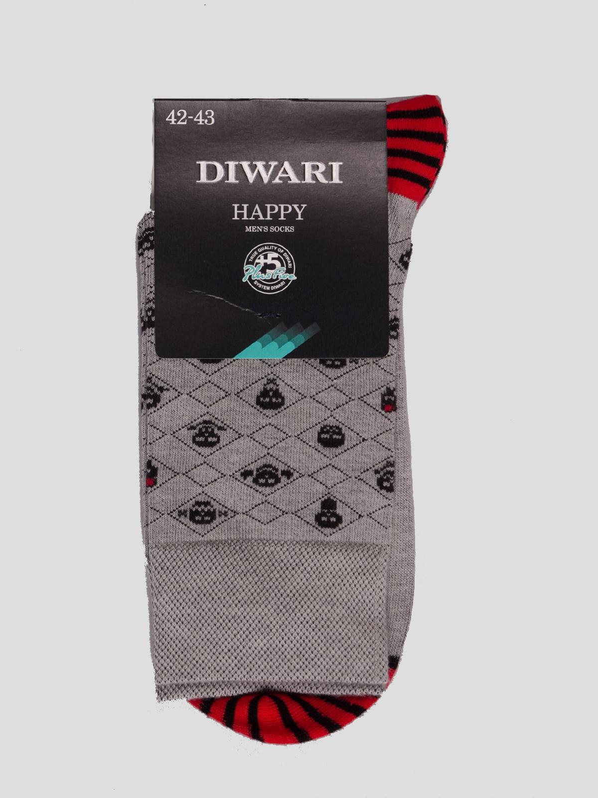 Шкарпетки сірі з малюнком | 4366584