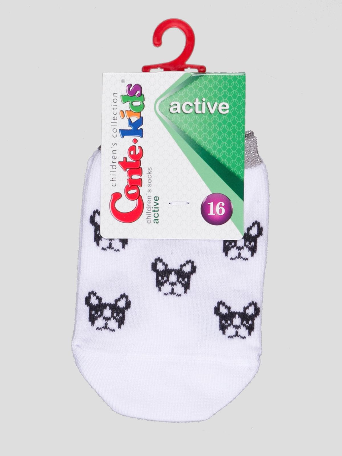 Носки белые с рисунком | 4366782