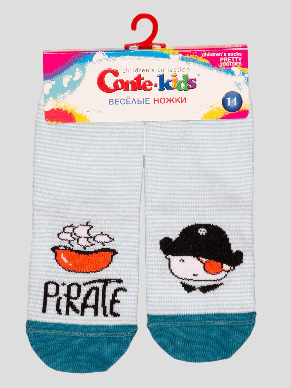Носки светло-бирюзовые с рисунком   4366792