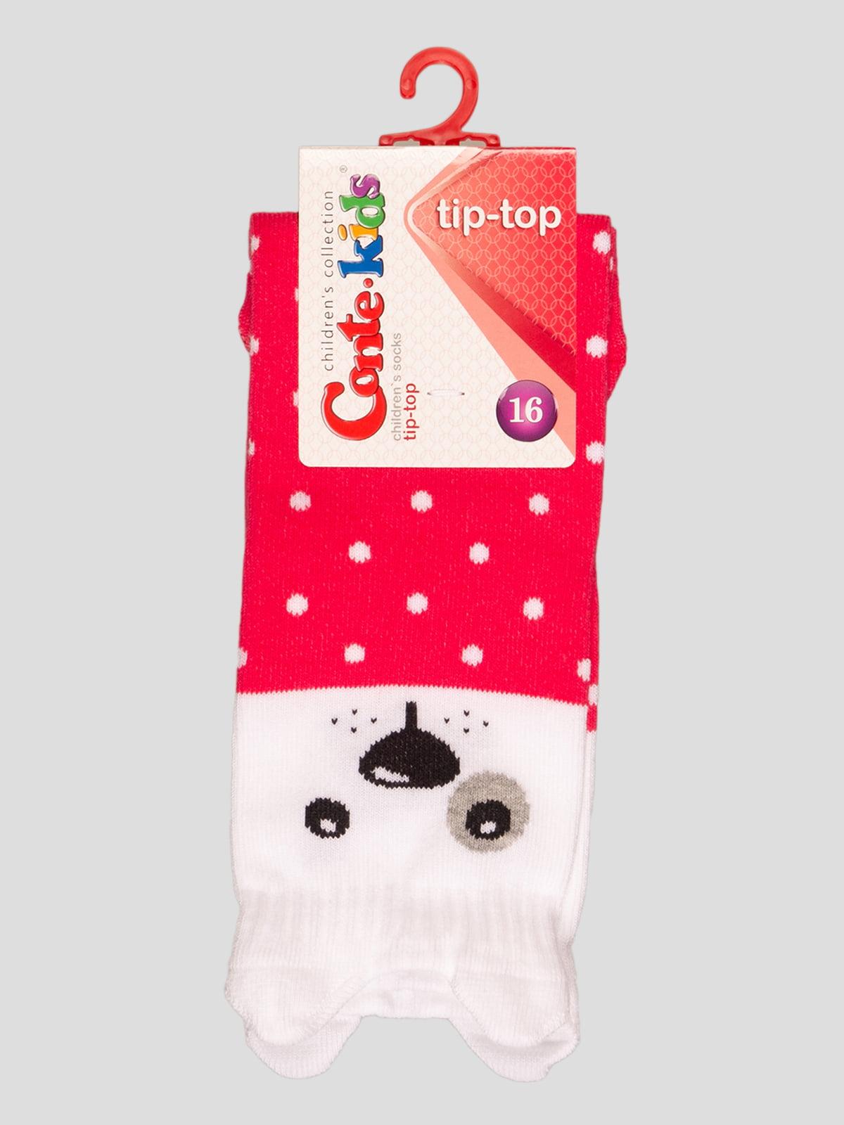 Носки малиновые с рисунком | 4366715