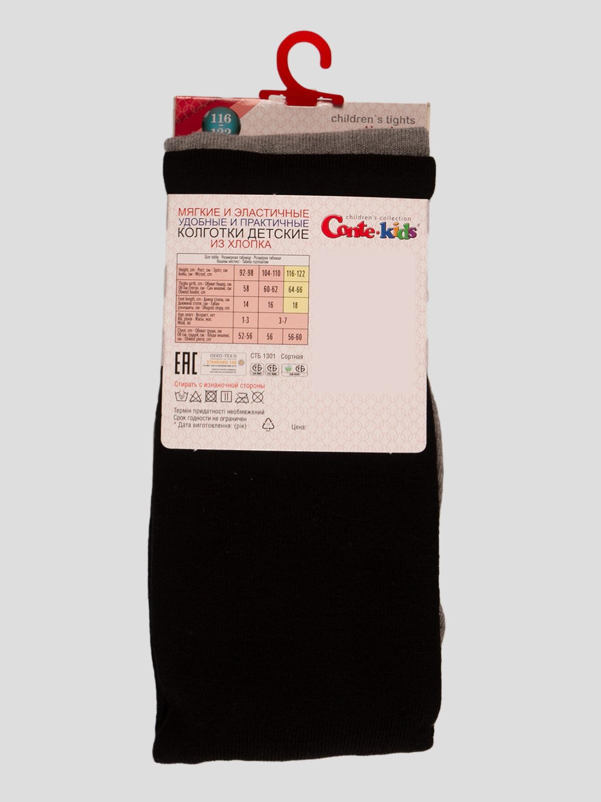Колготки черно-серые с рисунком | 4366633 | фото 2