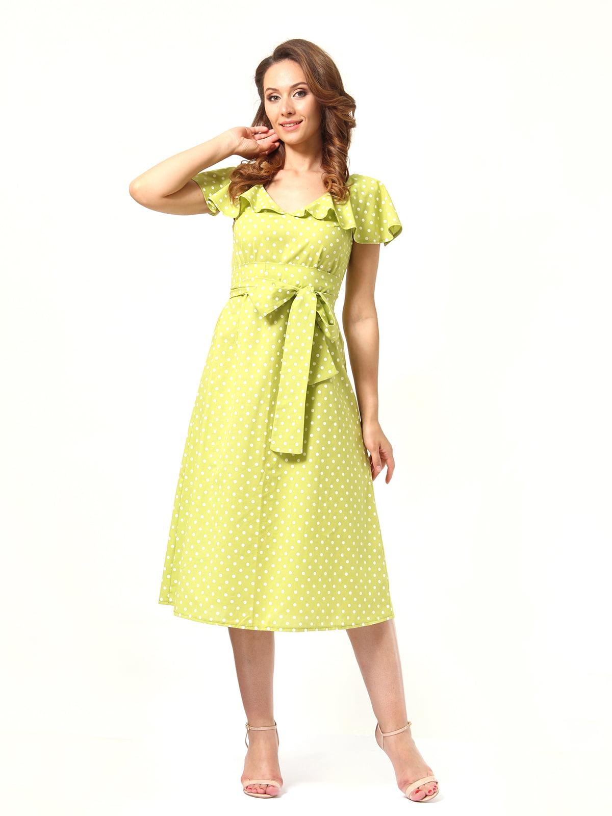 Сукня гірчичного кольору в горох | 4372034