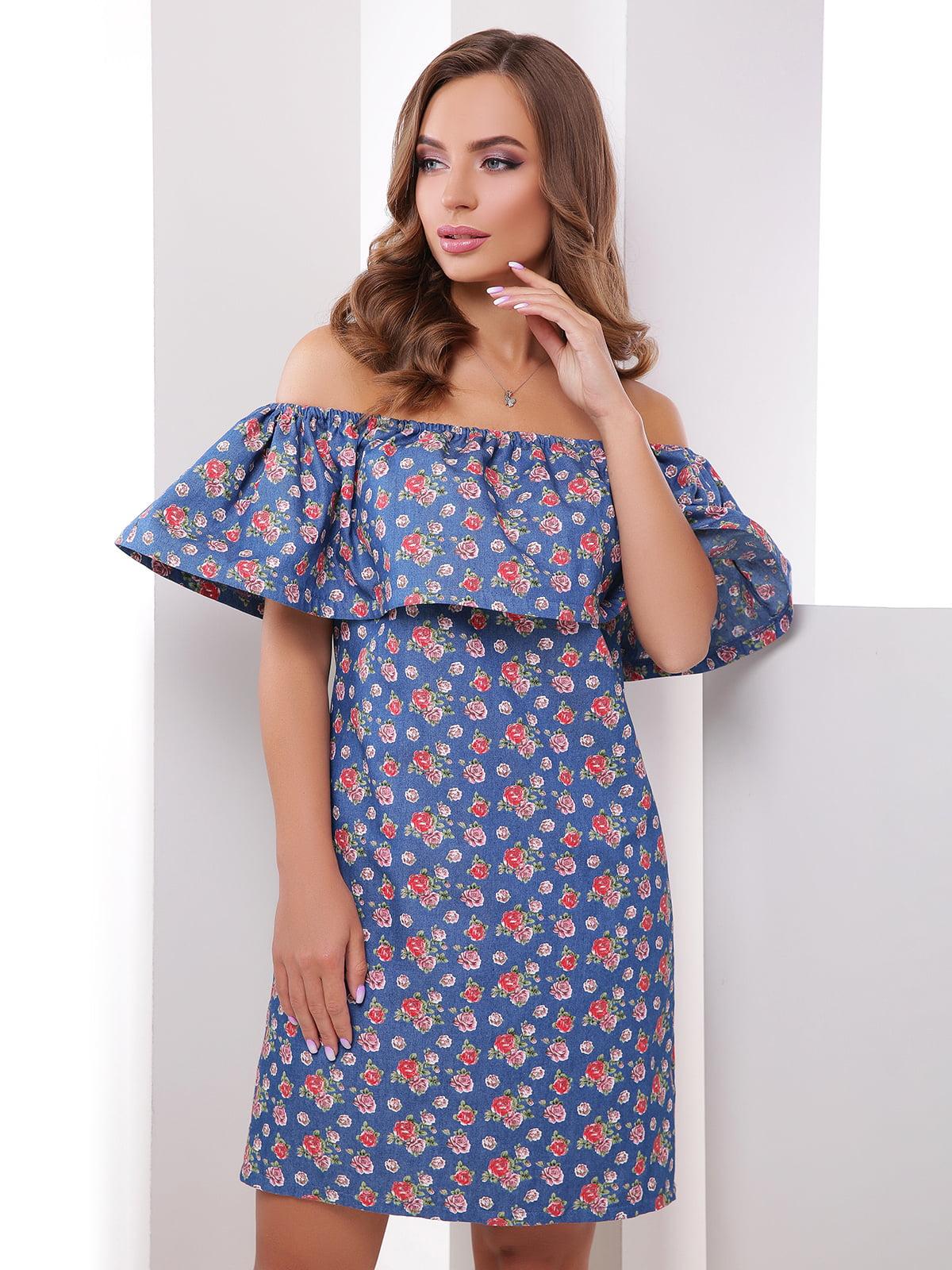 Сукня синя в квітковий принт | 4379323