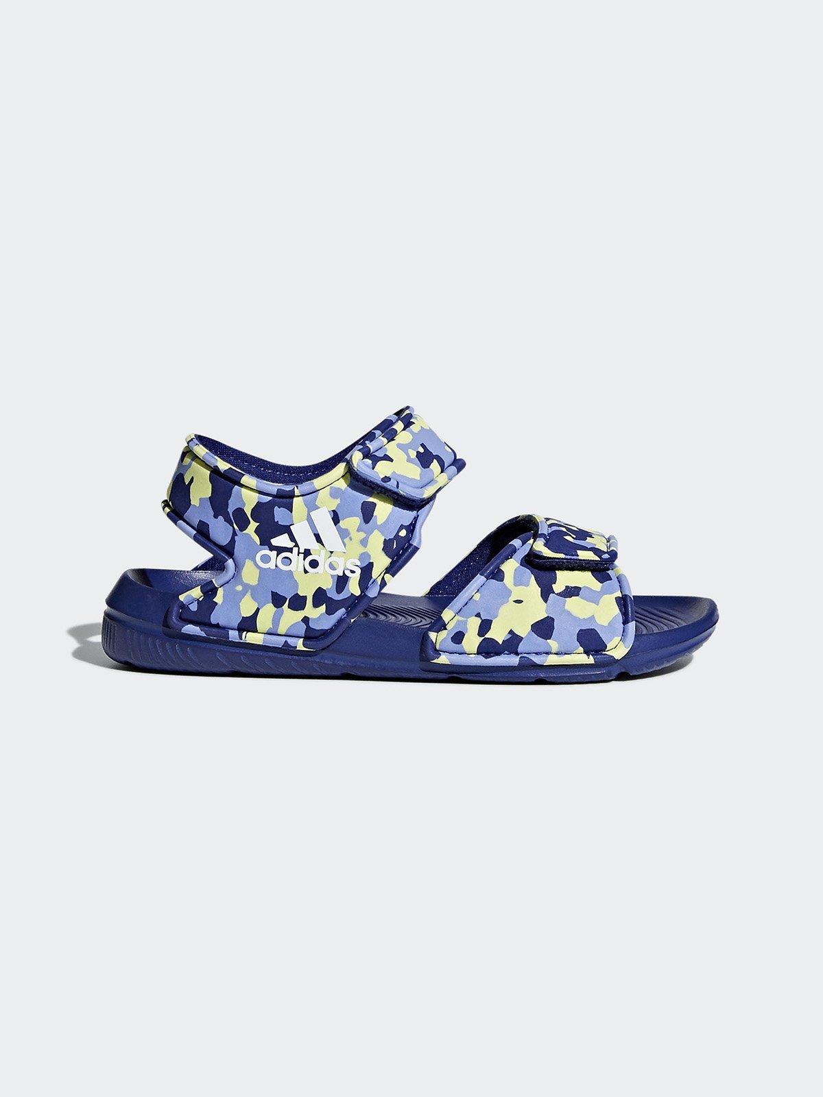 Сандалии синие в абстрактный принт | 4375616