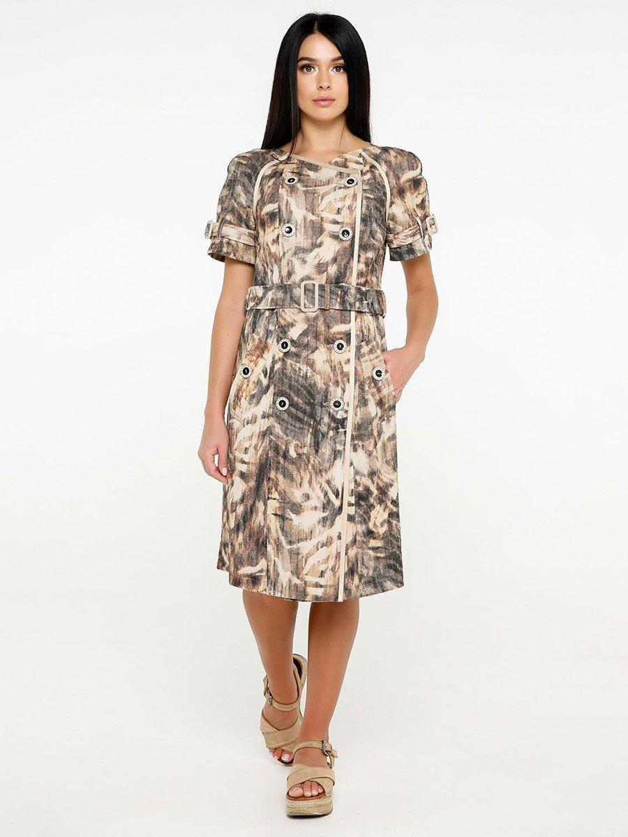 Сукня бежево-коричнева в принт   4382199