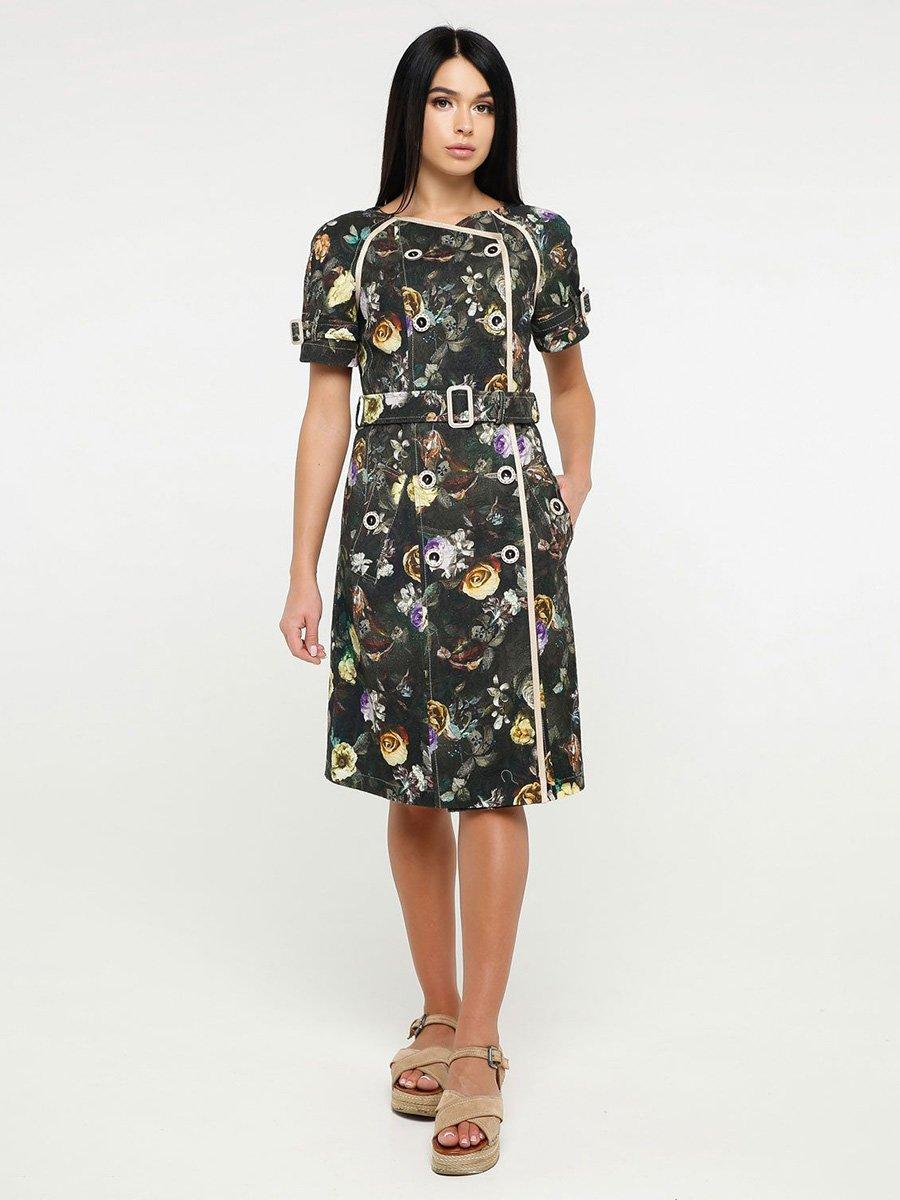 Платье цвета хаки в принт | 4382204