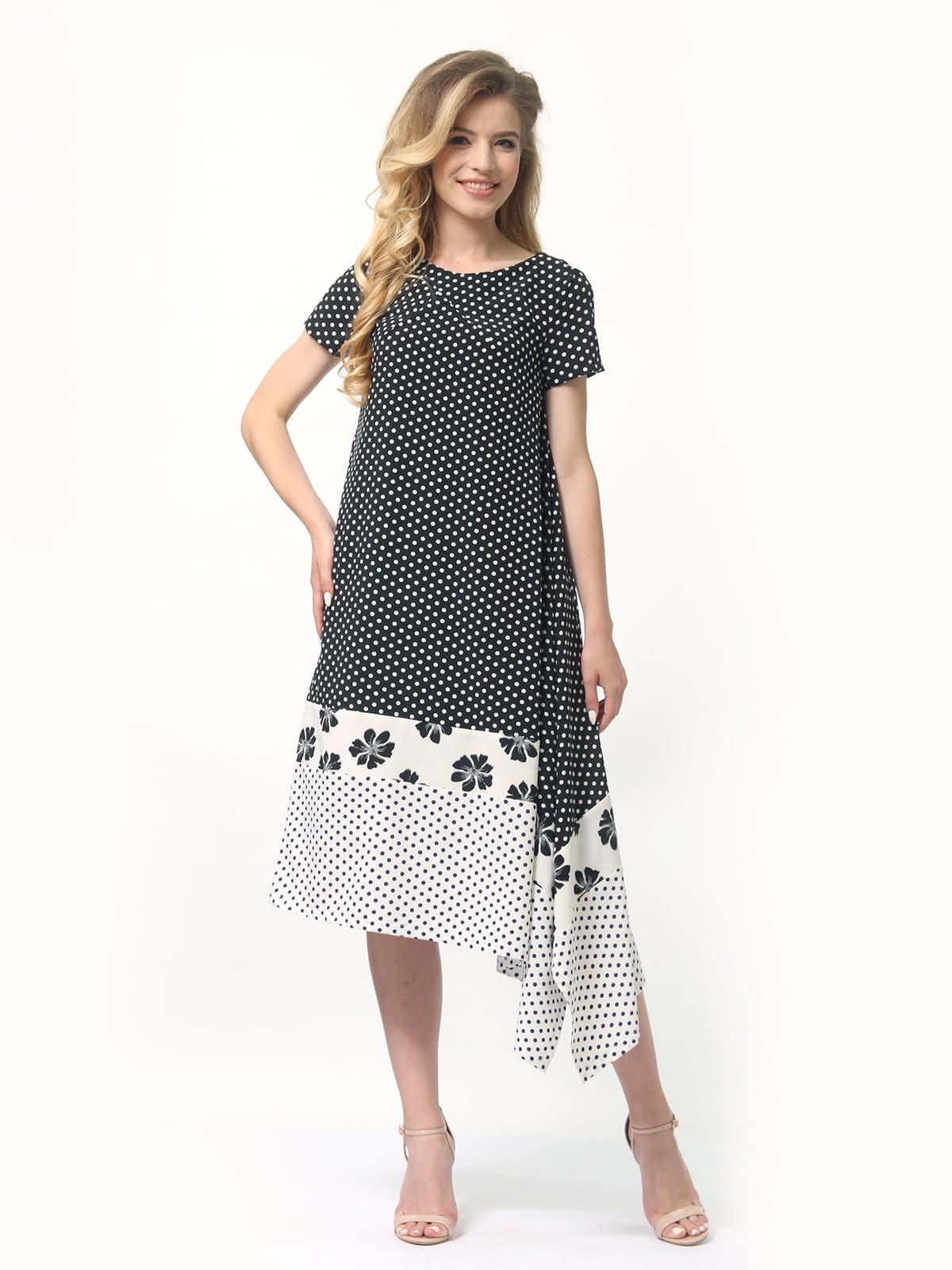Платье двухцветное в горошек и цветочный принт | 4382758