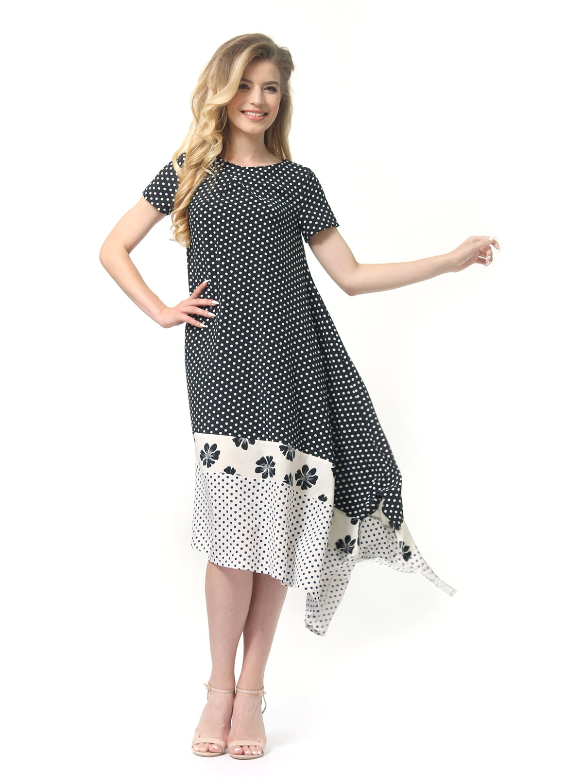 Платье двухцветное в горошек и цветочный принт | 4382758 | фото 2