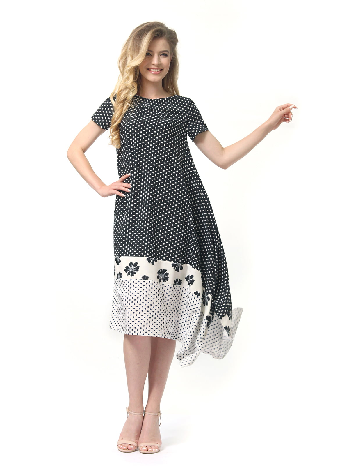 Платье двухцветное в горошек и цветочный принт | 4382758 | фото 3