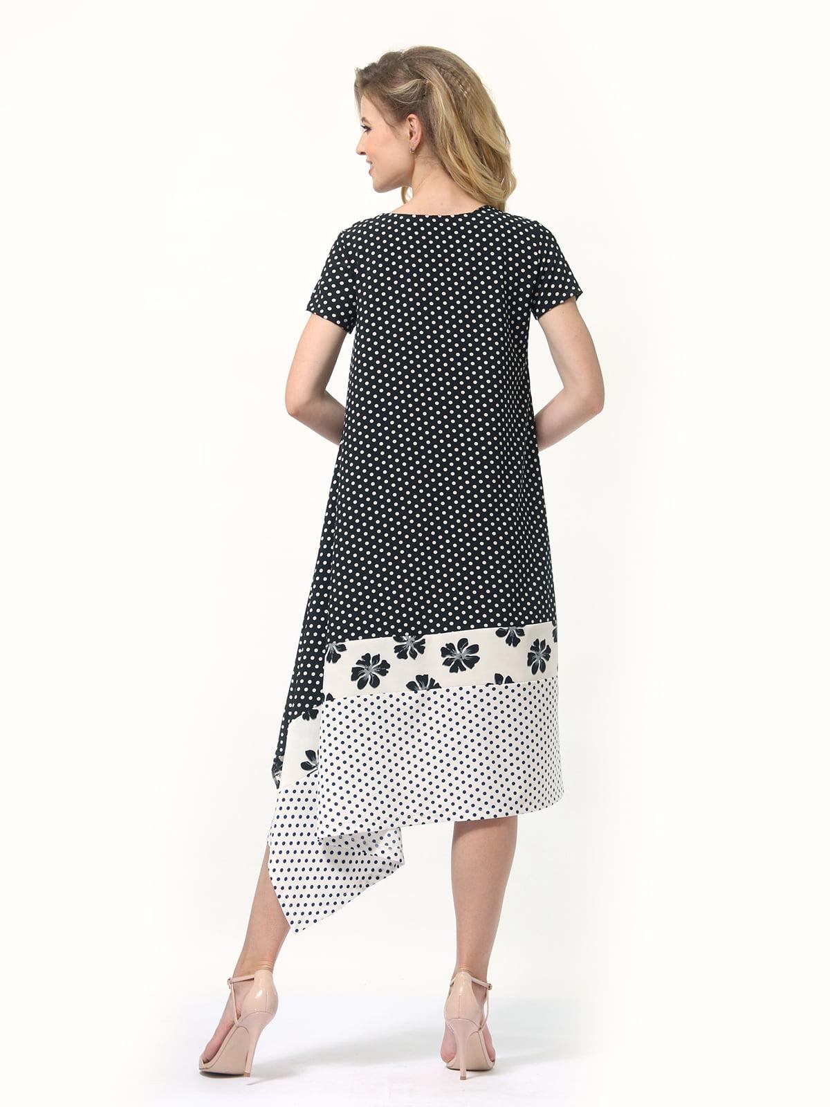 Платье двухцветное в горошек и цветочный принт | 4382758 | фото 4