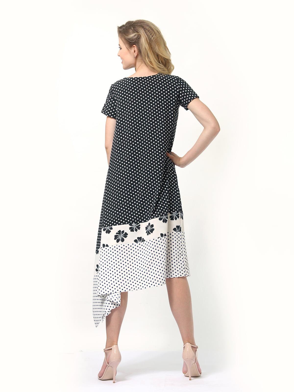 Платье двухцветное в горошек и цветочный принт | 4382758 | фото 5