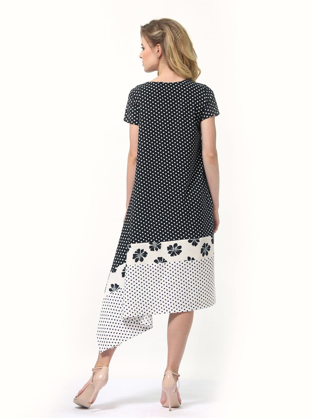 Платье двухцветное в горошек и цветочный принт | 4382758 | фото 6