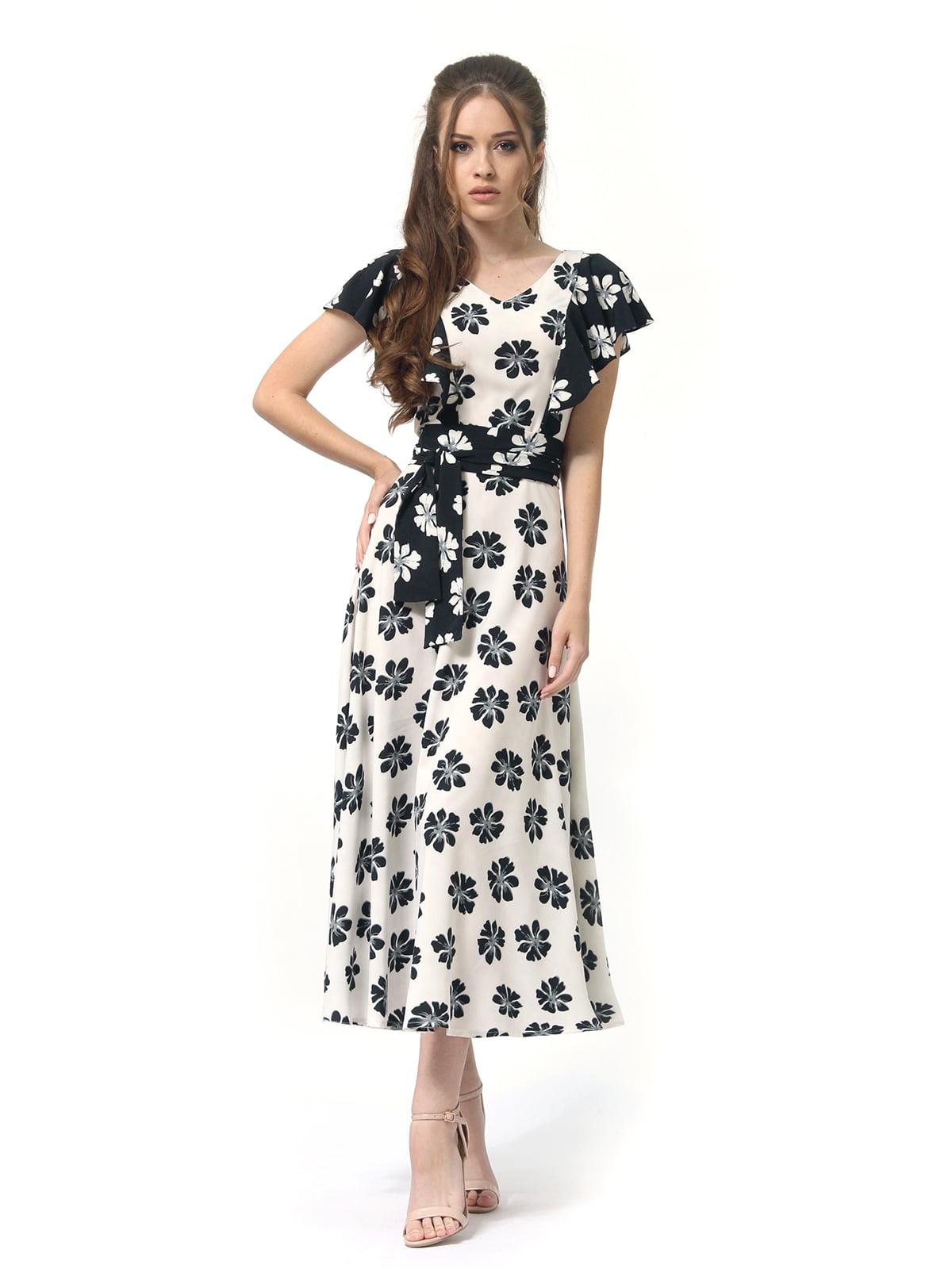 Платье двухцветное с цветочным принтом   4382759