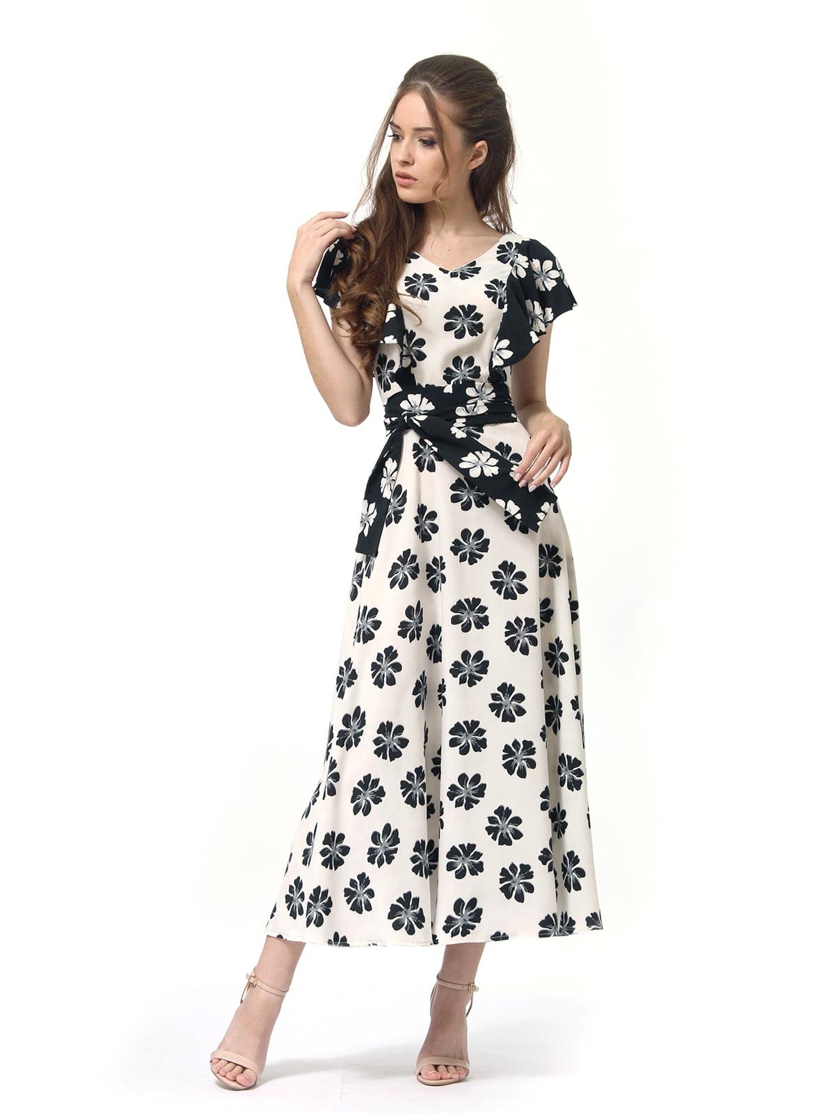 Платье двухцветное с цветочным принтом   4382759   фото 2
