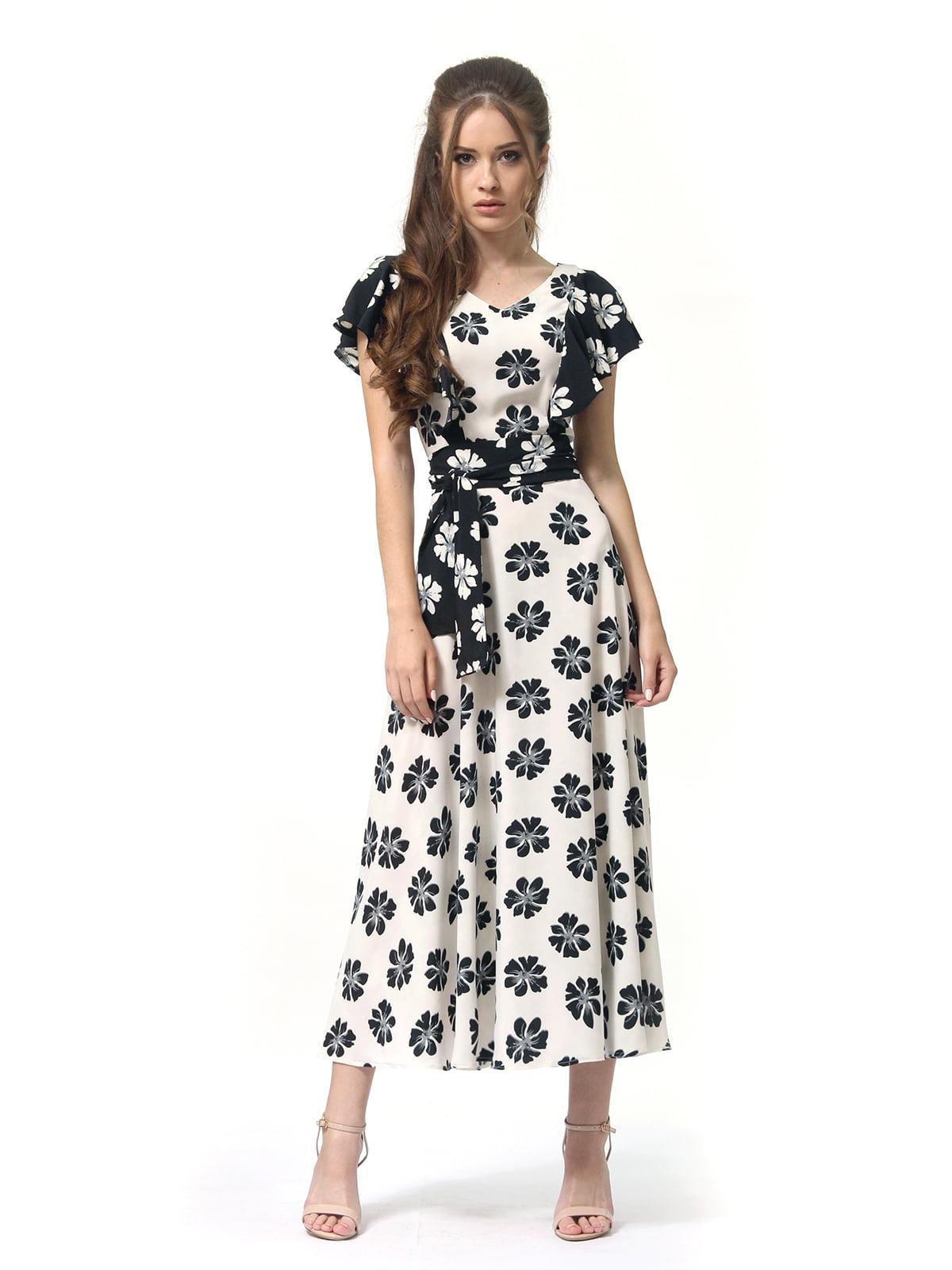 Платье двухцветное с цветочным принтом   4382759   фото 3