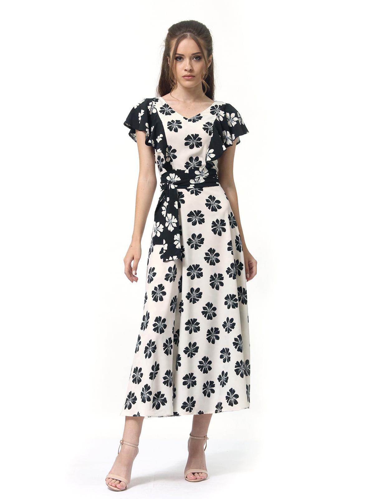 Платье двухцветное с цветочным принтом   4382759   фото 4