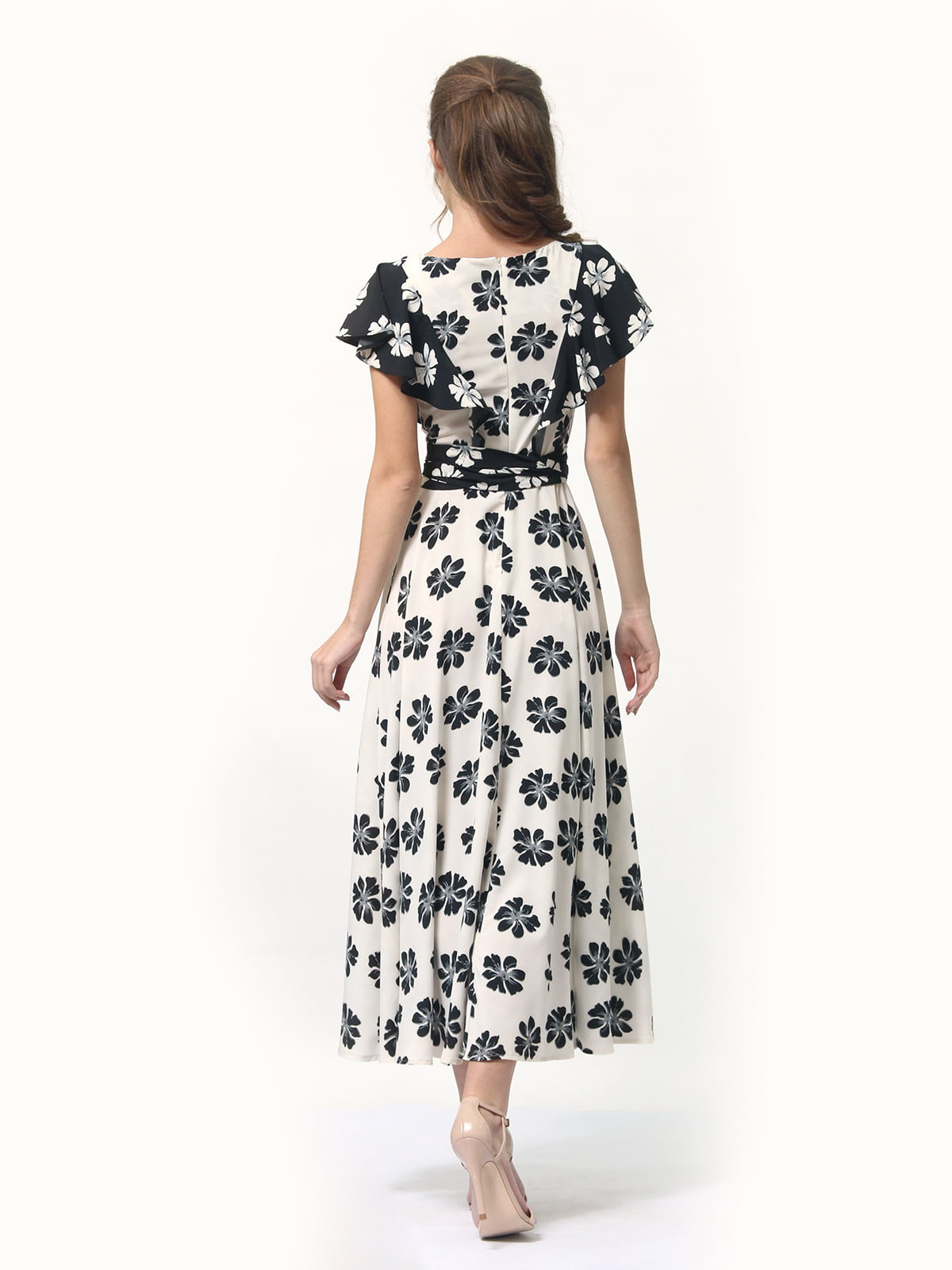 Платье двухцветное с цветочным принтом   4382759   фото 5