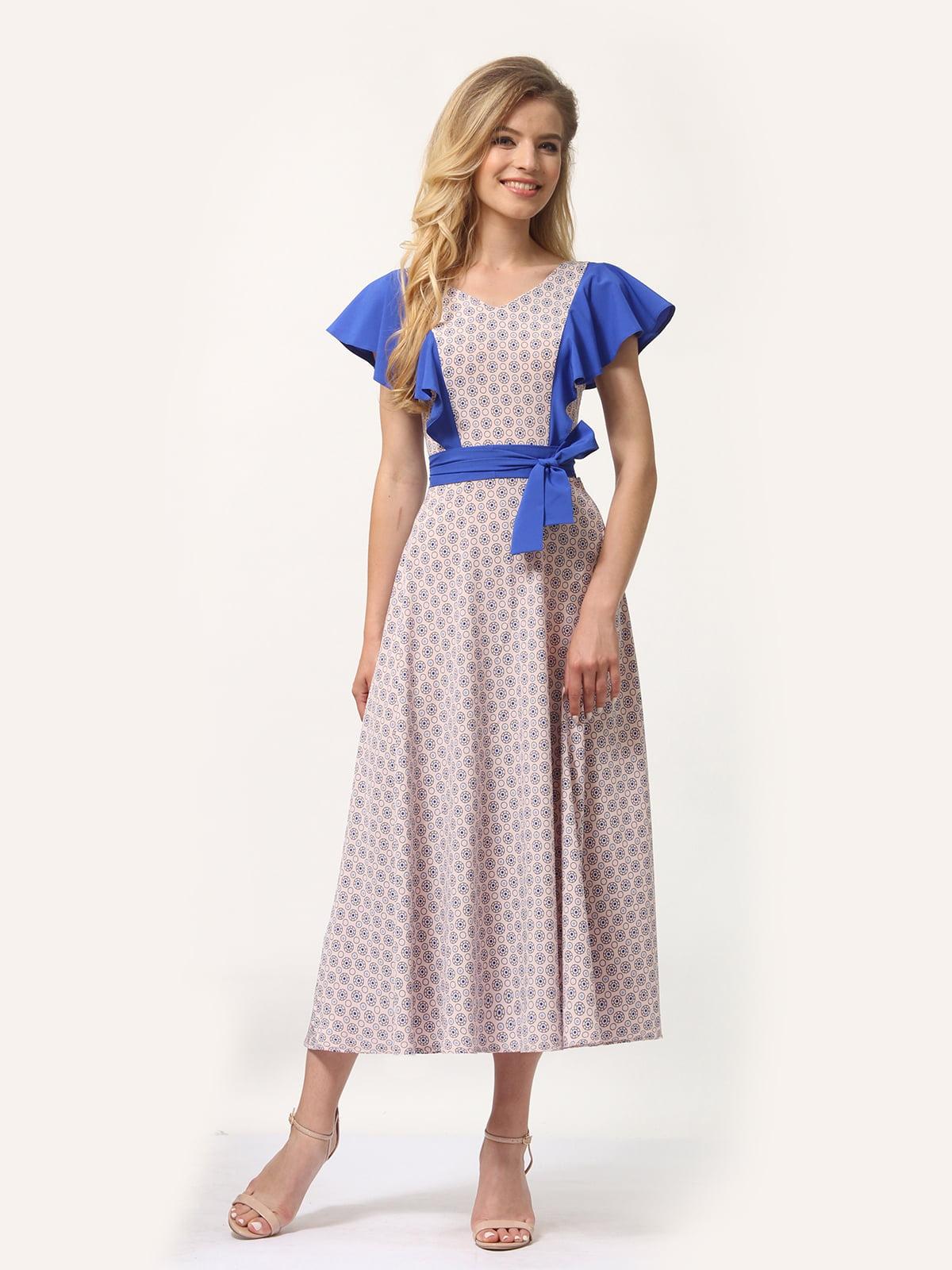 Платье бежевое с принтом | 4382760