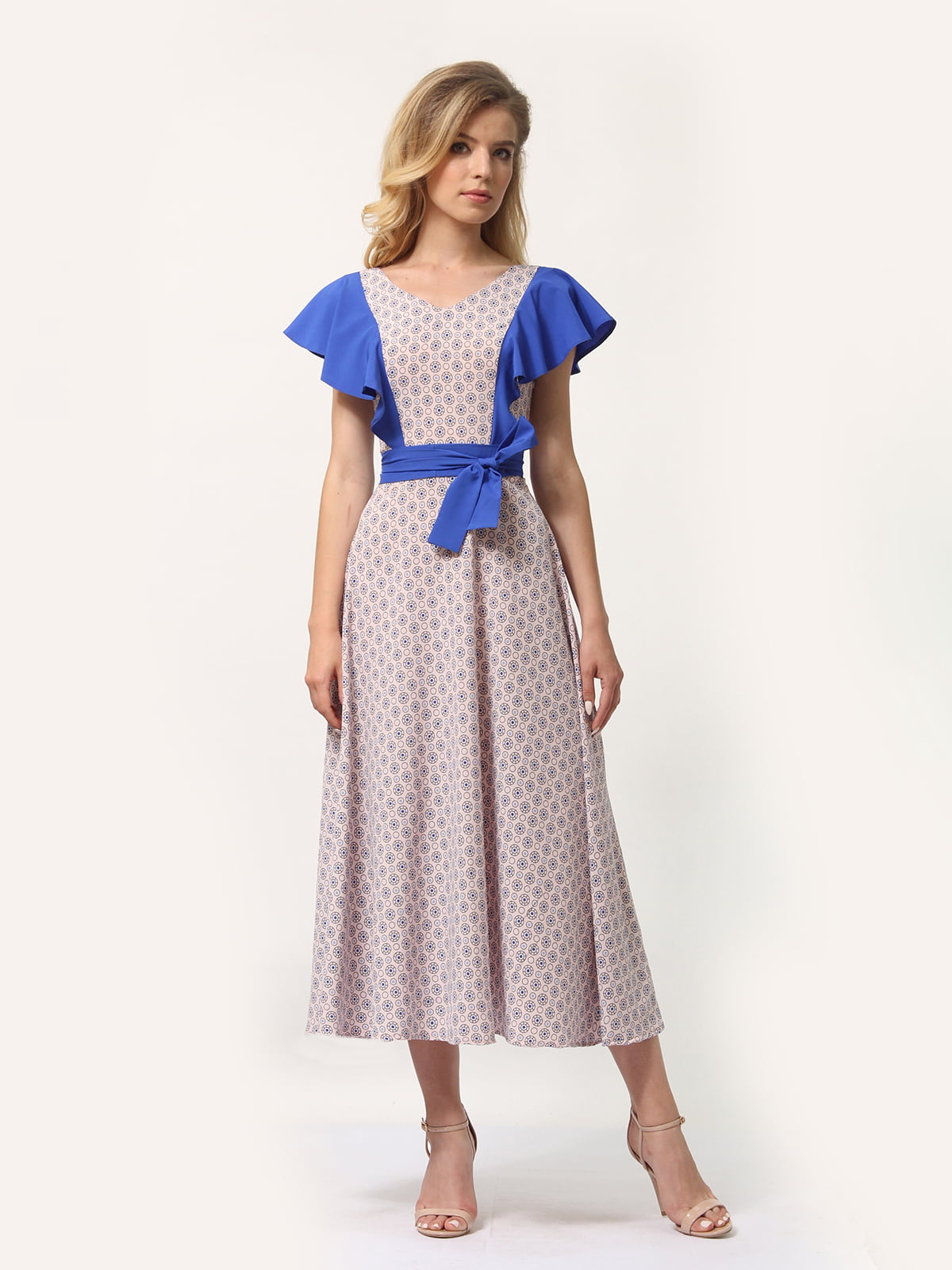 Платье бежевое с принтом | 4382760 | фото 2