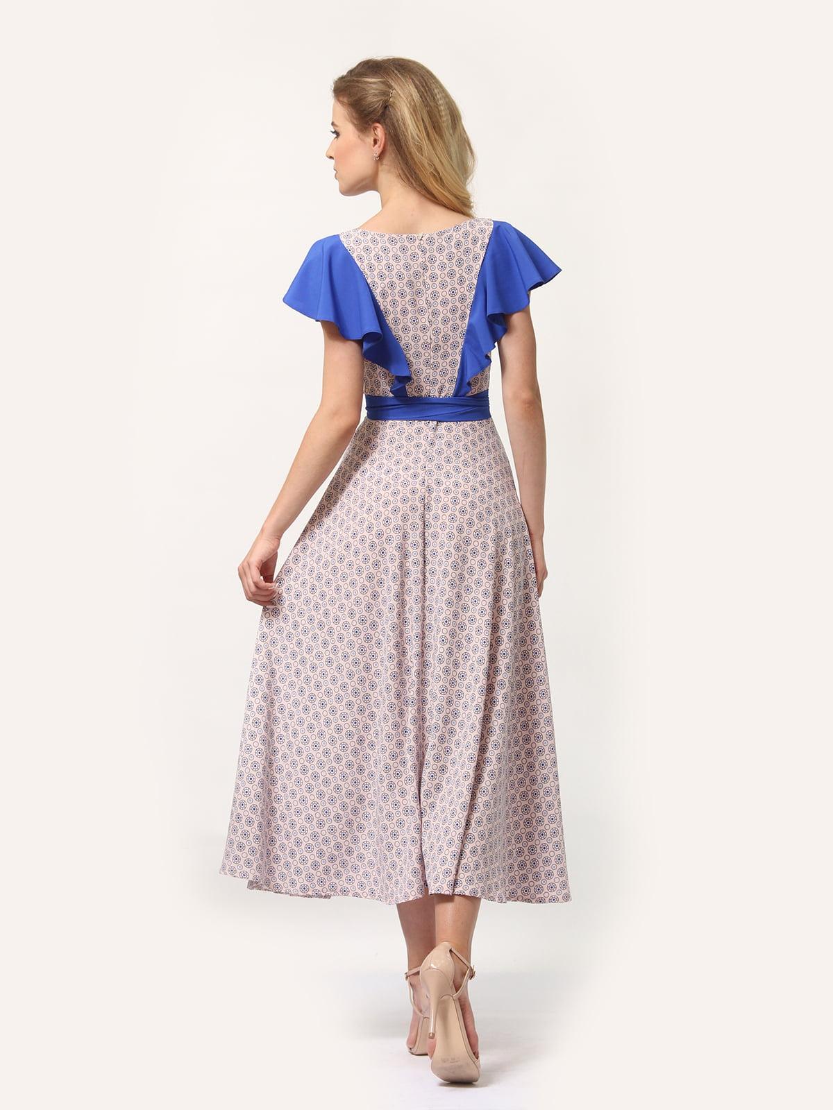 Платье бежевое с принтом | 4382760 | фото 4