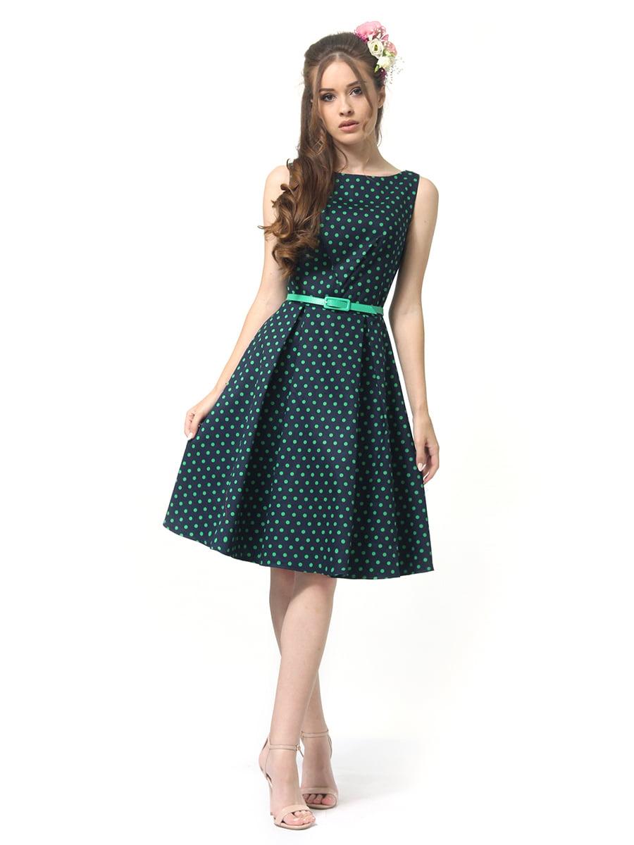Сукня зелена в горошок | 4384605