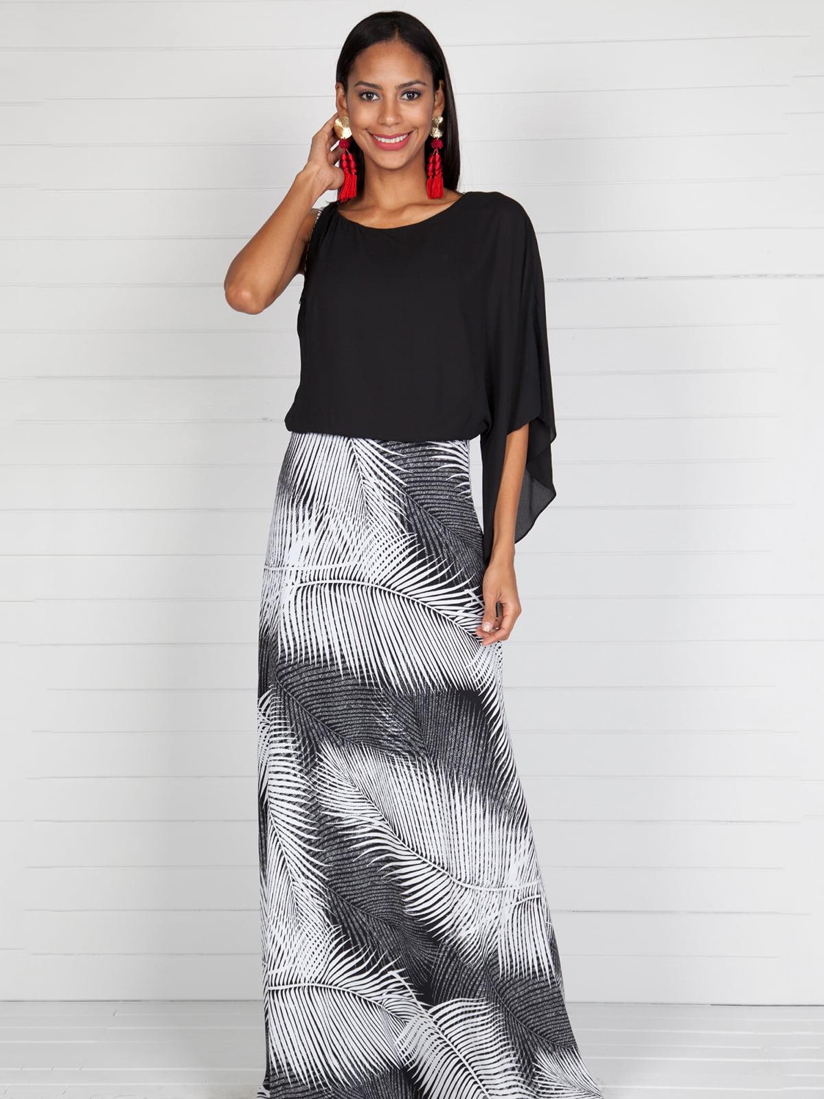 Сукня чорна з принтованою спідницею | 4383050
