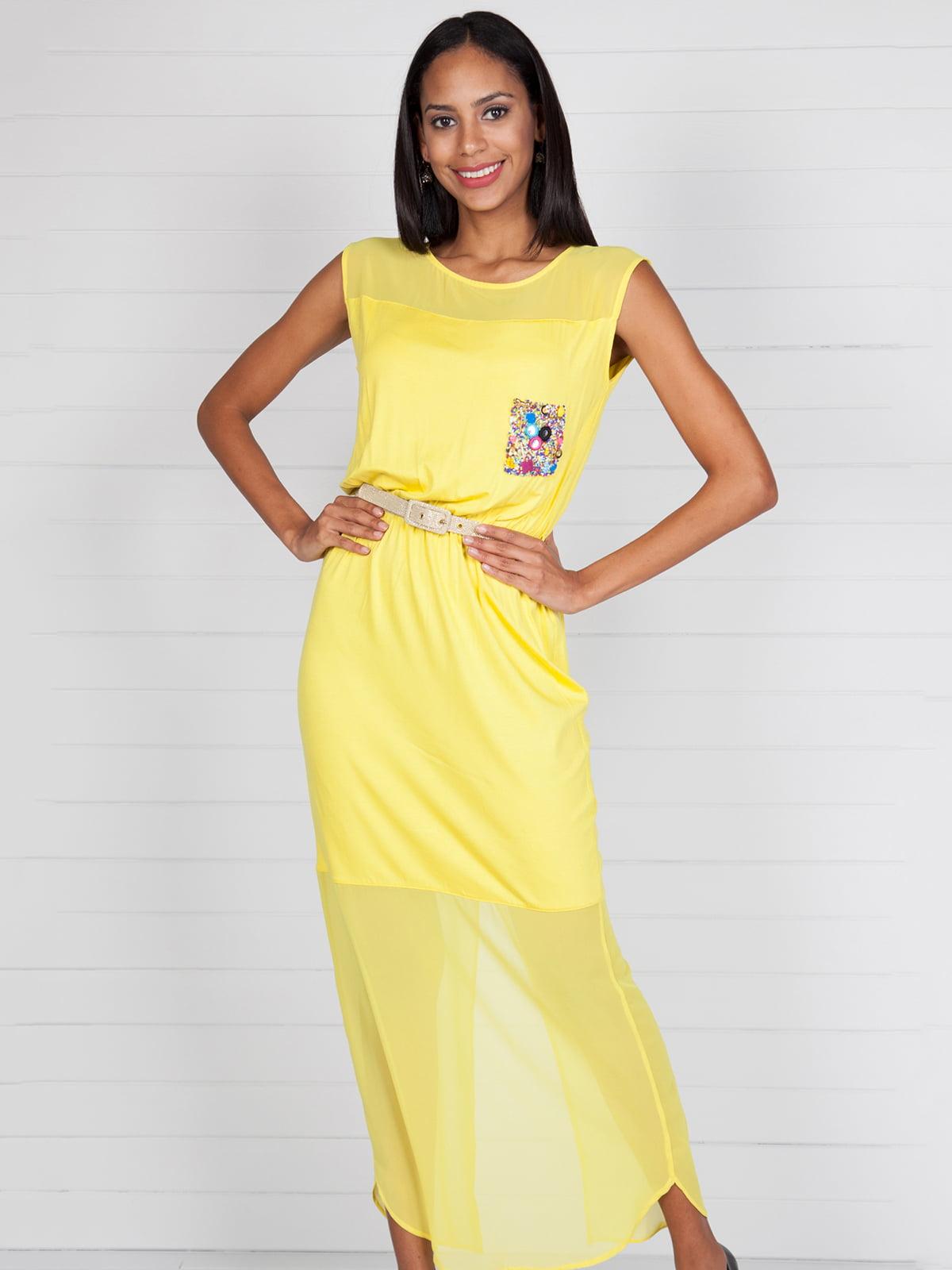 Сукня жовта з декором | 4383067