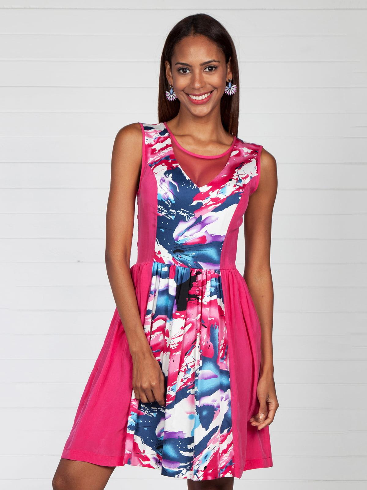 Сукня кольору фуксії з принтом | 4383113