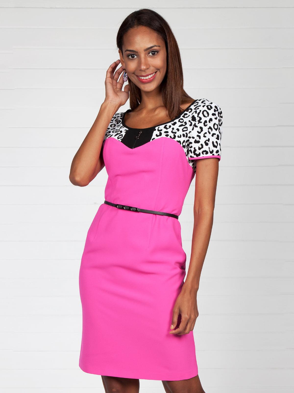 Сукня кольору фуксії з принтованою кокеткою | 4383148