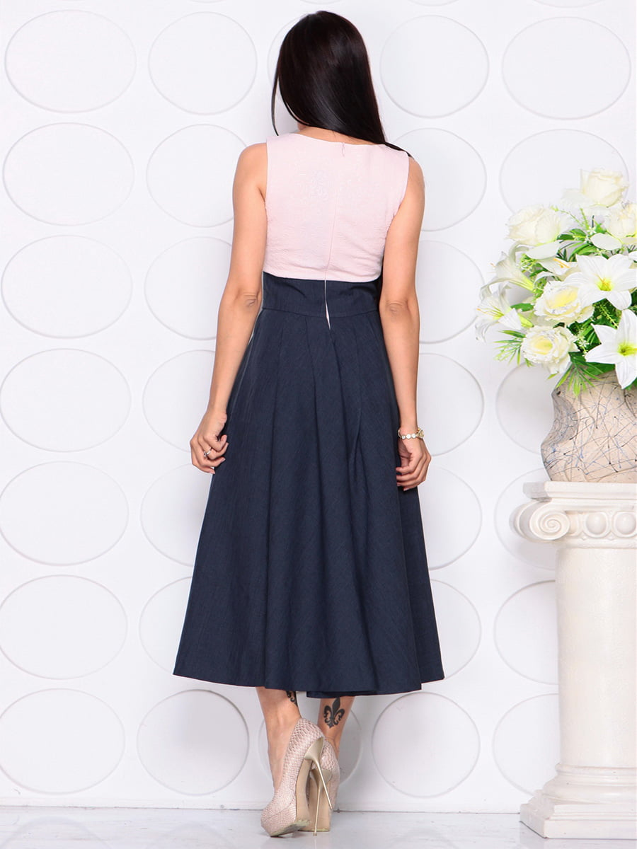 Платье бежево-синее | 4384422 | фото 2