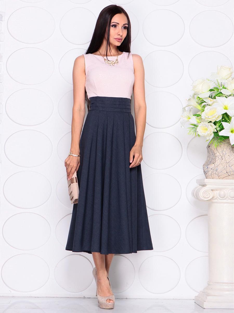 Платье бежево-синее | 4384422 | фото 3
