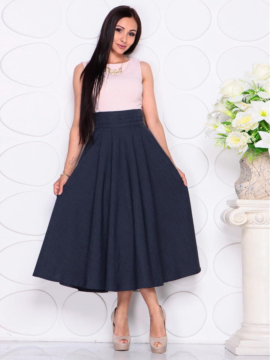 Платье бежево-синее | 4384422 | фото 4