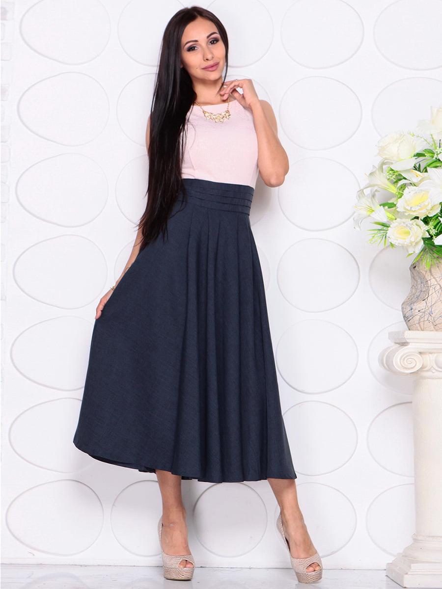 Платье бежево-синее | 4384422 | фото 5