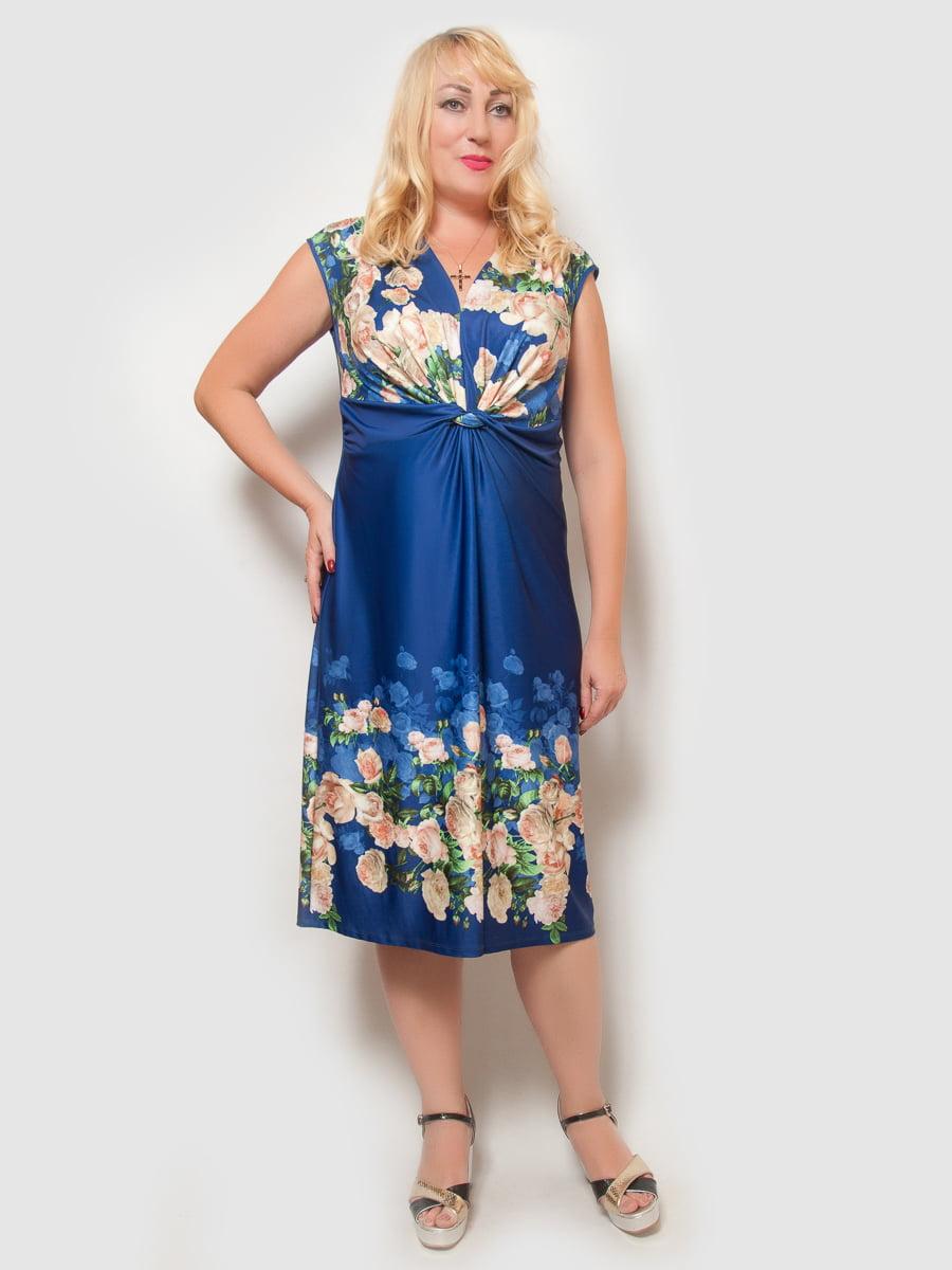 Платье цвета электрик в цветочный принт | 4386140