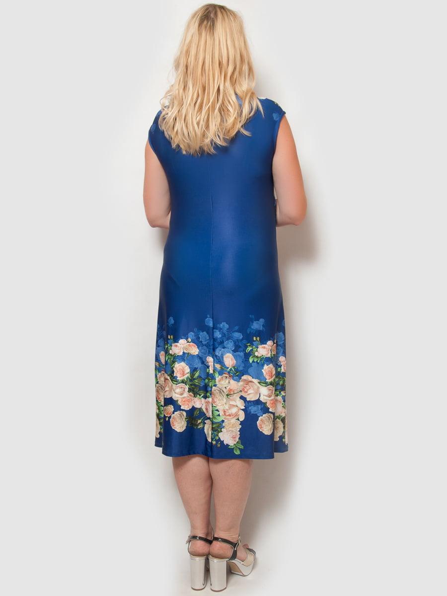 Платье цвета электрик в цветочный принт | 4386140 | фото 2