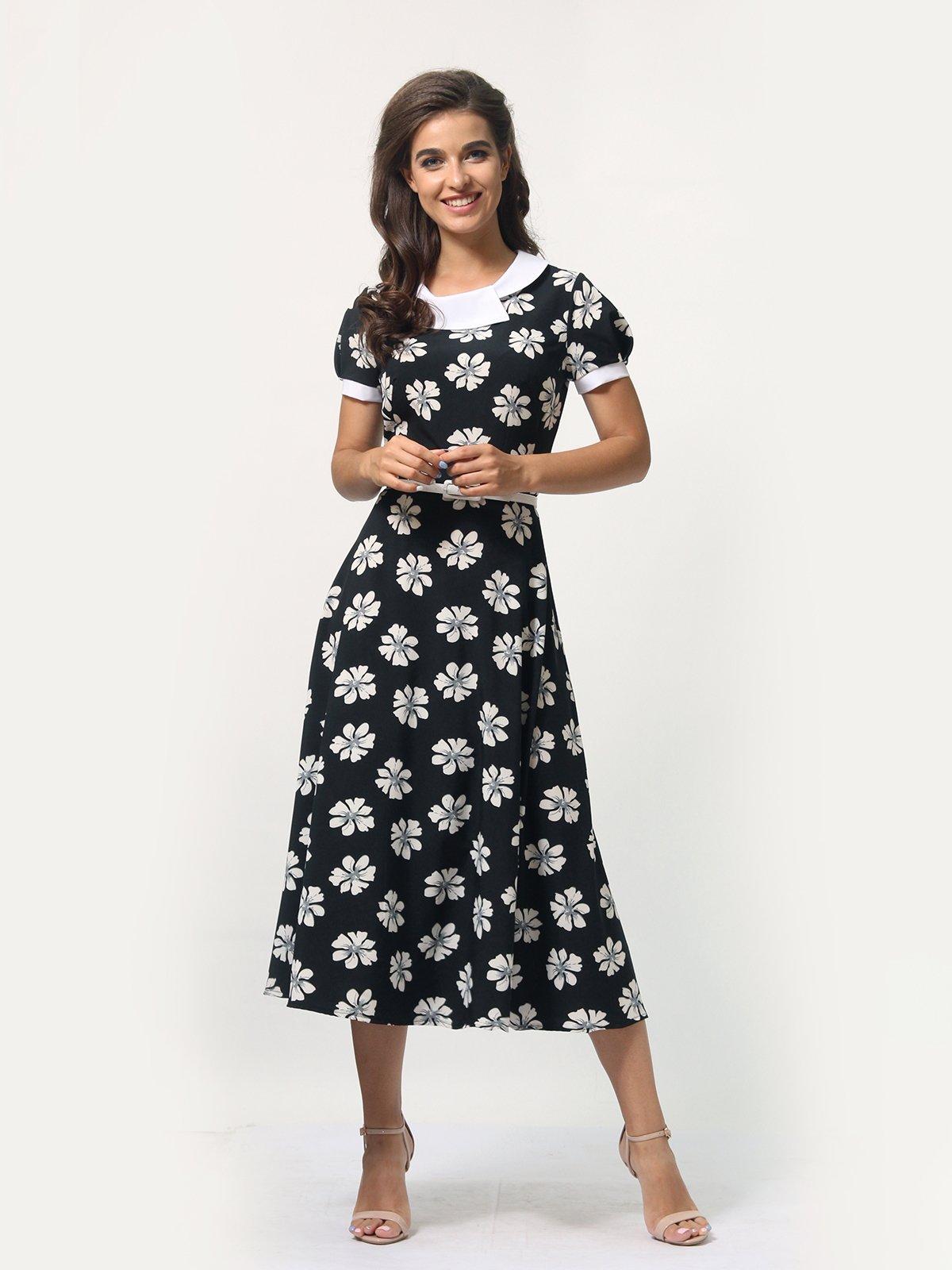 Платье черное в цветочный принт | 4388467 | фото 2