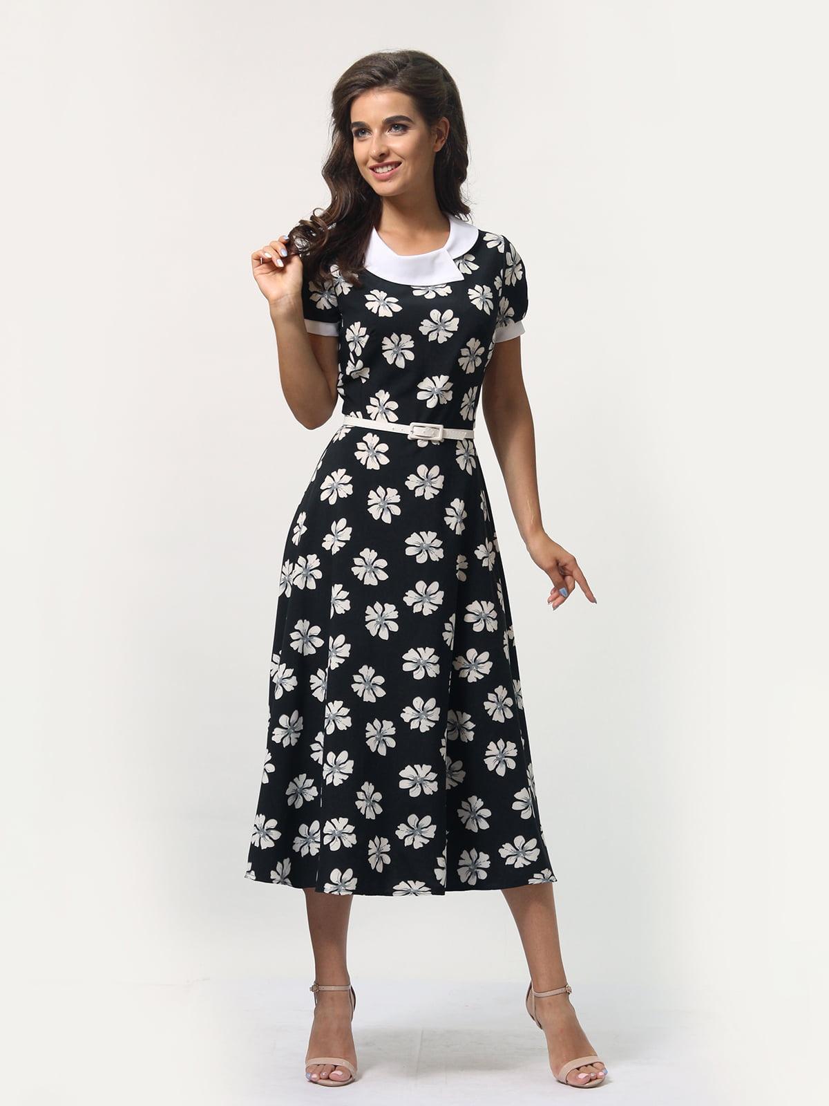 Платье черное в цветочный принт | 4388467 | фото 3