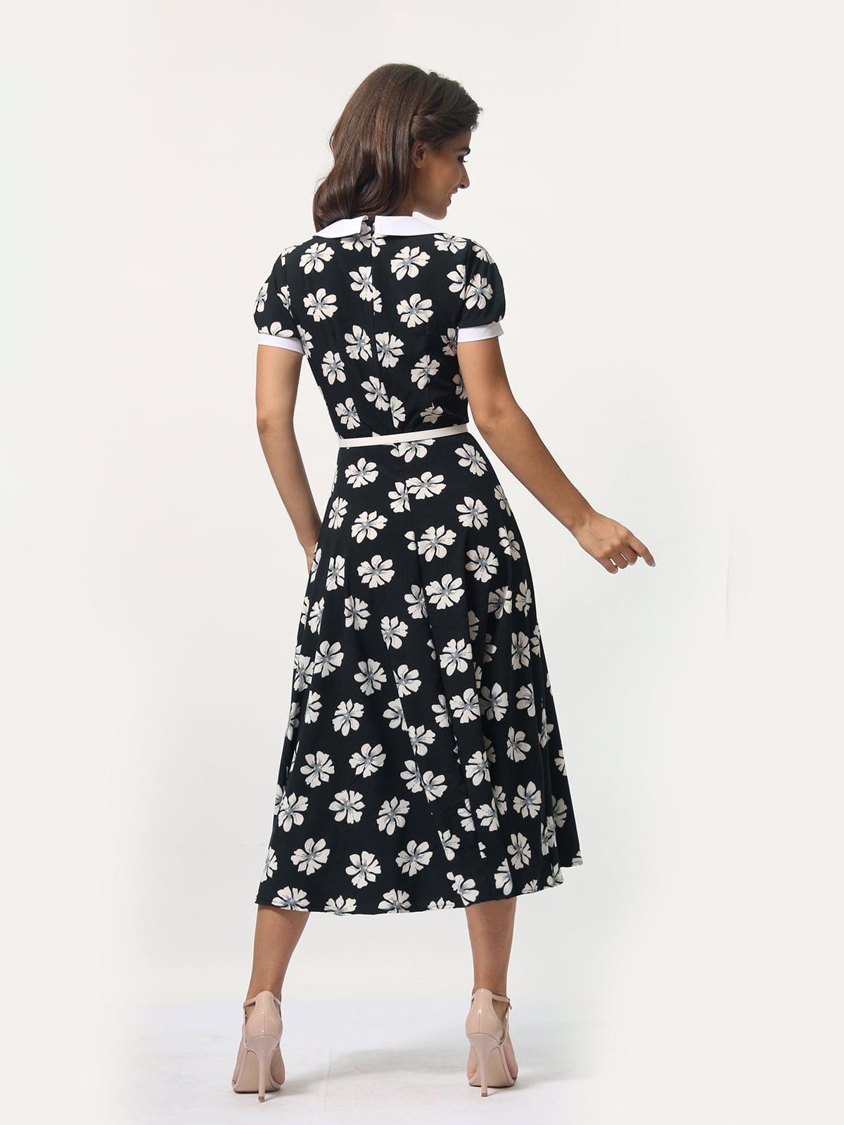 Платье черное в цветочный принт | 4388467 | фото 4